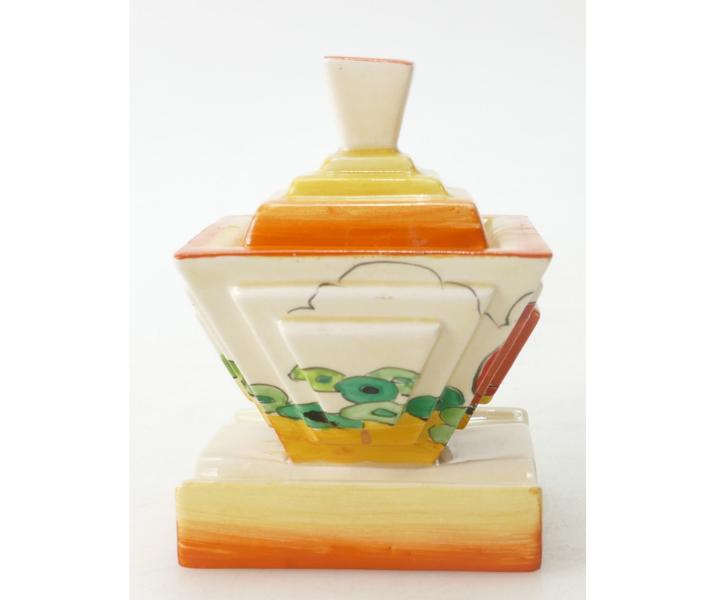 This beautifully distinctive Clarice Cliff Newport Pottery inkwell and cover, in the Orange Erin design, sold for a wonderful £280 in our 2019 rare pottery auction.