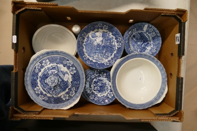 A Good Collection Of Royal Tudor Blue And White Dinner Ware In The Coaching Taverns Pattern