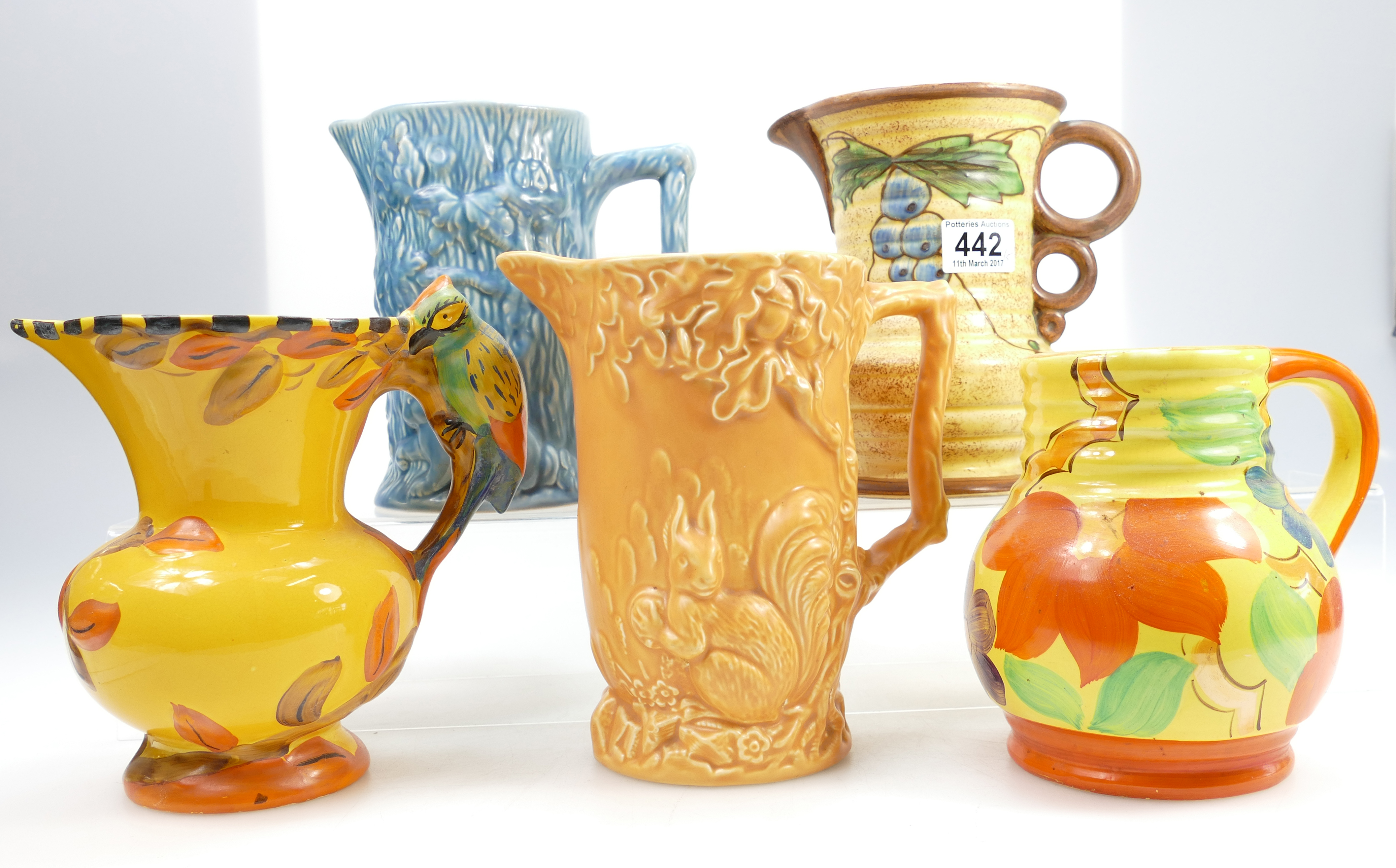 A Collection Of Various Wadeheath 1930s Jugs Including Birds Art Deco Styles Etc 5
