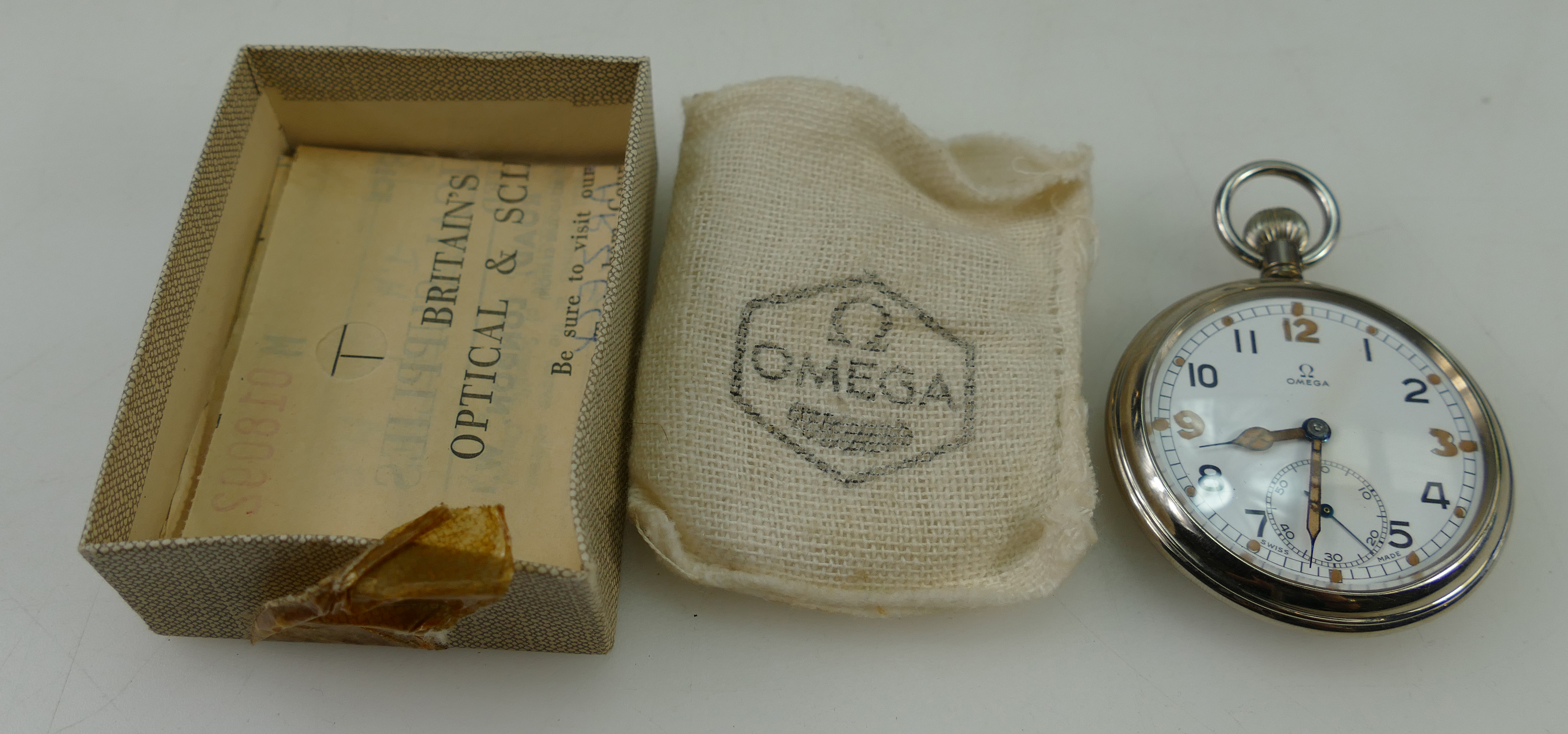 This Omega pocket watch steel with original packaging raised £130 at auction (A1706,lot 1454)