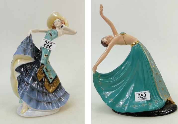 A Crown Devon Art Deco lady Rio Rita figure, and a Crown Devon Art Deco lady The Dancer figure, both sold at auction by Potteries Auctions