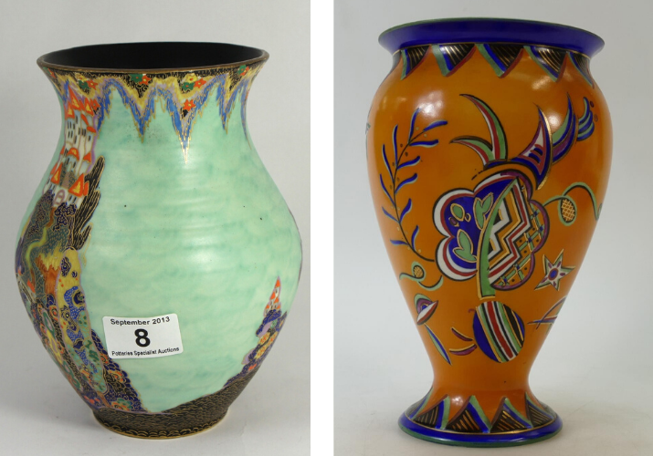 A Crown Devon Fielding Fairyland Castle Vase and a Crown Devon Fieldings Art Deco vase, both sold at auction by Potteries Auctions