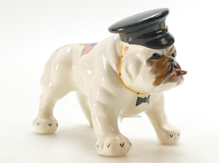 A rare Crown Devon model of a standing bulldog with sailors hat and cigar, sold at auction by Potteries Auctions