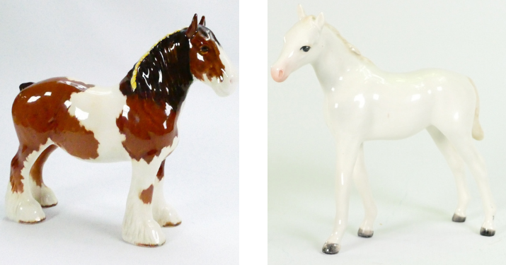 Rare Beswick horse models of a Skewbald shire horse and a white thoroughbred foal