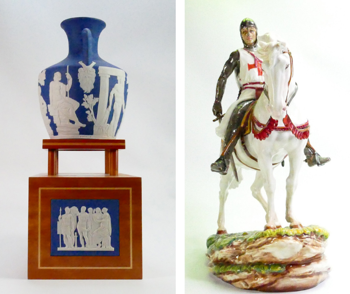 A large, limited edition Wedgwood Saxon blue Jasperware Portland vase with matching stand, and a large, limited edition Royal Doulton Prestige figure of St George