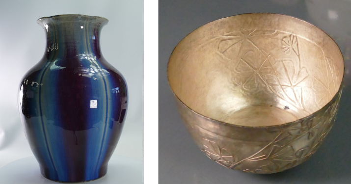 A 18th-century Chinese Pomegranate Flambe vase and a small silver bowl, decorated by Michael Lloyd for his last exhibition for the Silver Jubilee