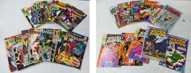 Vintage collections of Silver Age Marvel comics, the one on the left of The Amazing Spider-Man and on the right a collection of Silver Surfer and The Mariner comics