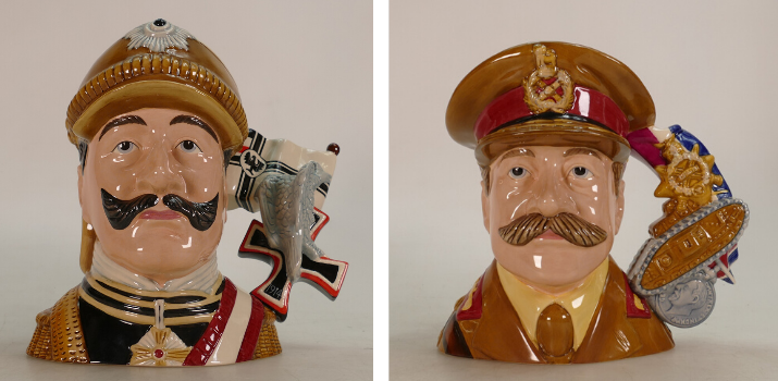 Royal Doulton World War I General character jugs, sold by Potteries Auctions