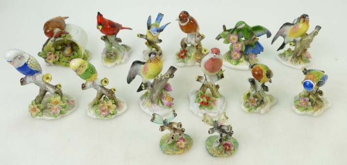 A collection of Royal Doulton floral Bird and Adderley Butterfly models, sold by Potteries Auctions
