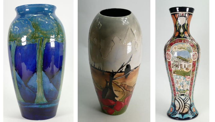 A William Moorcroft Moonlit blue vase,Moorcroft Prestige Lest we Forget vase, and a Moorcroft Prestige Roof Top Paradise vase, all for sale with Potteries Auctions at our September sale