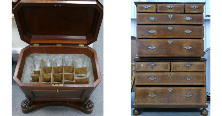 A Regency Mahogany Cellarette Sarcophagus wine cooler, and a stunning 18th century Queen Anne Burr Walnut Chest on Chest, both going under the hammer at the Potteries Auctions September sale