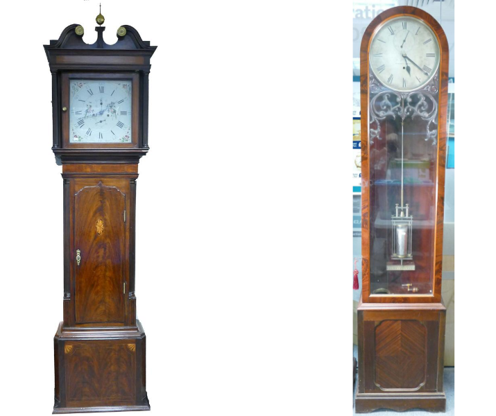 A mahogany Coates of Wigan Longcase clock and a 19th century floor standing Regulator clock, both coming up at auction with Potteries Auctions in September