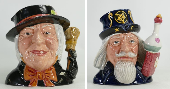 These large, rare Royal Doulton prototype witch and wizard character jugs are set to be incredibly popular at the Potteries Auctions September auction