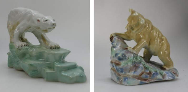 A Wade Faust Lang underglaze Polar Bear figure and a Wade Faust Lang underglaze Brown Bear figure, both sold at auction by Potteries Auctions