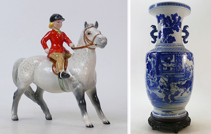 Lot 649A, a rare Beswick Girl on Grey Pony and Lot 1212 a 19th Century Chinese Blue & White Temple Vase