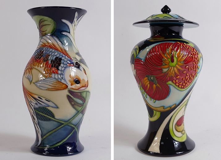 A pair of Moorcroft vases in a Quiet Waters and Maitai Bay design