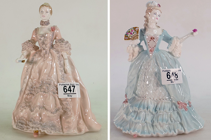 Lot 647, a limited edition Coalport figure Madame De Pompadour, and Lot 648, a limited edition Coalport Marie Antoinette figurine, both sold at auction by Potteries Auctions