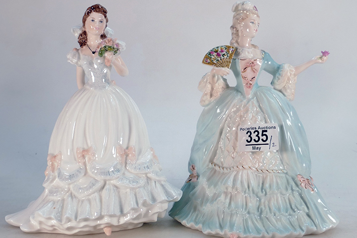 A pair of Coalport Lady figures sold for £280 in our June sale. 1992 For Your Wedding on the left, and Marie Antoinette on the right.