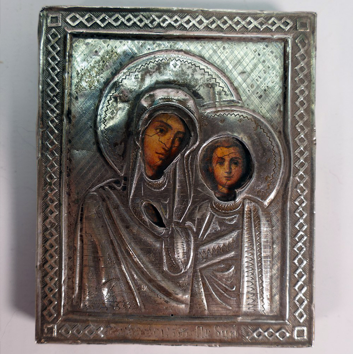 Lot 951's hammer price was £320, a 19th Century Imperial Russian Silver on Wood Religious Icon dated 1890