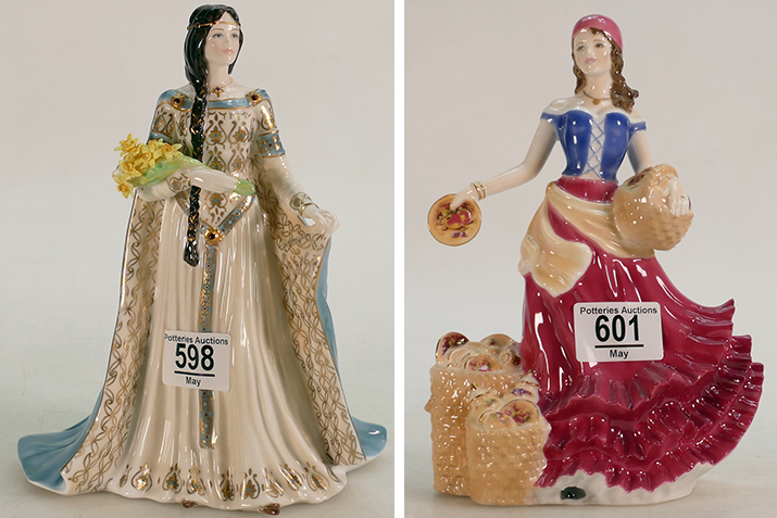 Lot 598 - Royal Worcester Figure The Daughter of Erin, and Lot 601 - Fruit Seller at Appleby Fair, both sold at auction by Potteries Auctions