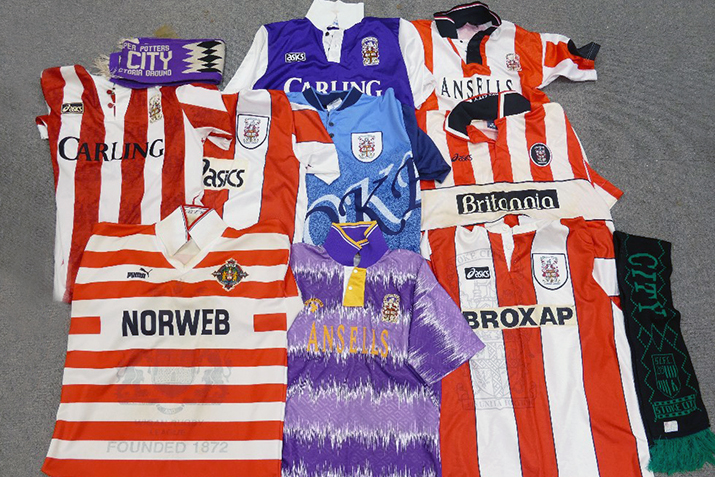 This collection of home and away strips for Wigan Rugby club fetched £340 at auction with Potteries Auctions