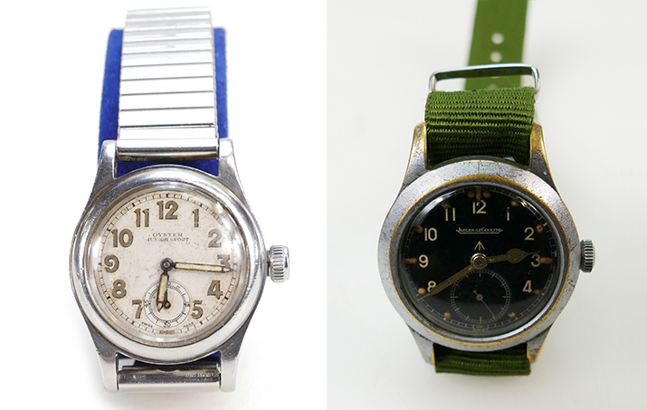On the left a 1941 Rolex military Oyster Junior that went for £420 (A1706 lot 1474) and on the right a Jaeger Le Coultre steel military watch that was auctioned for £1300 (A1903 lot 874)
