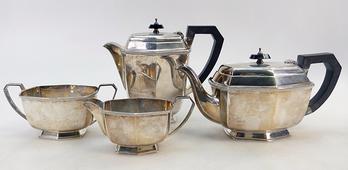 4 piece hallmarked silver tea set, clear hallmarks for Sheffield 1947. Weight 1714g. Hammer price: £460