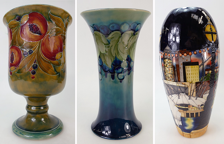 A trio of Moorcroft vases auctioned by Potteries Auctions in 2019