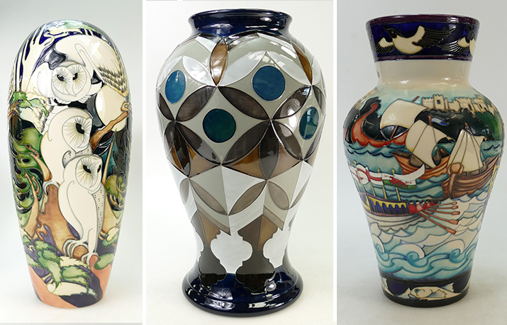 A trio of Moorcroft vases auctioned by Potteries Auctions in July 2019